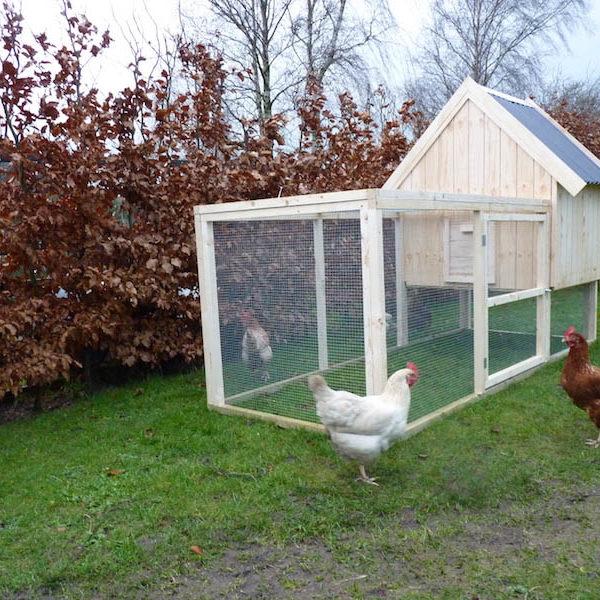 Hønsehus med hønsegård i moduler